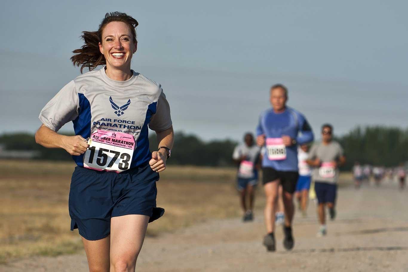 Female running in a marathon
